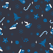 Winter Seamless Pattern. Merry Christmas, New Year, Winter Themes