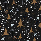 Hand drawn Winter/Merry Christmas seamless pattern. Holiday background.Unique Design. Great for cards, web, fabric, gift paper, page fill, winter decor, etc.
