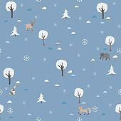 Seamless Winter Pattern with trees and spruce.