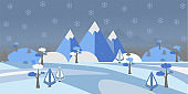 Winter Snowy Landscape with hills, trees and mountains. Suburban Buildings in Winter Landscape. Flat Vector Illustration.