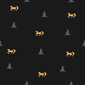 Seamless Pattern with orange foxes