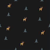 Seamless pattern with brown mooses and spruce trees. Kids Fashion.