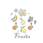 Cute Icon withlots of fruits. Hand Drawn Scandinavian Style. Vector Illustration
