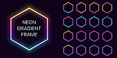 Neon gradient hexagon Frame with copy space. Templates set of Neon gradient hexagonal Border