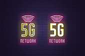 Neon sign set of 5G network mobile technology