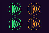 Icon set of Play button. Vector sign, UI element