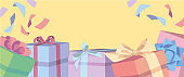 Cartoon style vector web shop banner sized background with colorful gift boxes with ribbons and copy space for text