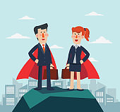 Business man and business woman superhero standing with cape waving in the wind. Successful hero businessman and businesswoman. Success, leadership and victory in business vector concept