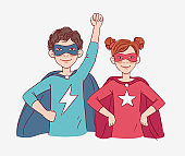 Two cute children super heroes