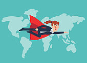 Super Business woman. Cartoon superhero flying with cape waving in the wind. Successful hero business woman. Success, leadership and victory in business vector concept