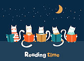 Funny cats reading books