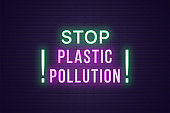 Neon banner, headline Stop Plastic Pollution, text