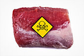 Raw chunk of pork meat with yellow poisonous skull warning sign, concept for meat contaminated with bacterium, germs, antibiotics and other residue possibly harmful to human health