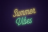 Neon lettering of Summer