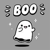 Cute cartoon ghost drawing