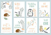 Cute kid background with jungle,wild,hedgehog,bear,penguin for birthday invitation