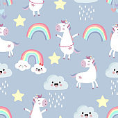 Pink blue violet hand drawn seamless pattern with rainbow,heart,cloud,unicorn and rain
