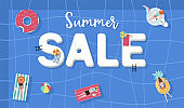 Summer sale background with tiny people,umbrellas, ball,float  in the top view pool.Vector summer banner