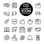 Set of line icon about E-commerce, shopping online. Include store,coupon,basket,cart and more.Editable vector stroke.265x265 Pixel Perfect