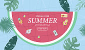Summer sale background with tiny people,umbrellas, ball,swim ring,sunglasses,hat in the top view pool.Vector summer banner