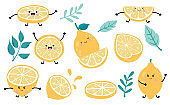 Cute lemon,citrus object collection.Whole, cut in half, sliced on pieces lemons. Vector illustration for icon,logo,sticker,printable