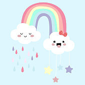 Colorful hand drawn cute card with rainbow,cloud and rain.Rainbow make me happy