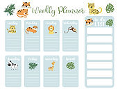 cute animal weekly planner background with giraffe,tiger,lion,leopard.Vector illustration for kid and baby.Editable element