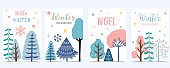 Collection of winter background set with tree,snowflake,snow.Editable vector illustration for birthday invitation,postcard and website banner