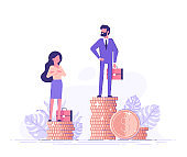 Businessman and businesswoman are standing on stacks of coins representing wages level. Gender gap and inequality in salary. Sexism and discrimination. Vector illustration.