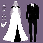 Wedding card with the clothes of the bride and groom. Wedding set.