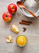 Apples and ingredients for compote and apple sauce