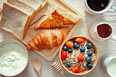 Breakfast Healthy Vegetarian Food With Milk, Croissant, Bread, Granola, Yogurt, Honey, Coffee and Fresh Fruits on The Table., Delicious Food Menu in The Morning, Diet Eating and Healthcare Concept