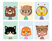 Animal posters for nursery.Can used for greeting cards.