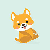 Vector illustration of cute Shiba Inu dog.
