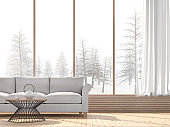 Winter living room with snow scene background 3d render