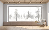 Empty room with snow scene background 3d render