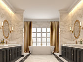 Luxury bathroom with white marble walls and  floors 3d render