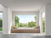 Modern living room with garden view 3d render