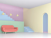 colorful living room with pastel concept 3d render