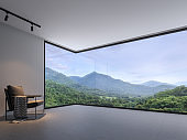 Minimalist room space with nature view 3d render