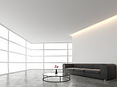 Minimal style living room with white backdrop 3d render