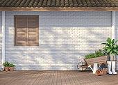 House terrace with garden equipment 3d render
