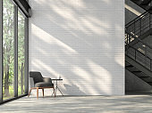 Loft style stair hall with nature view 3d render