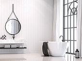 Modern white vintage bathroom 3d render