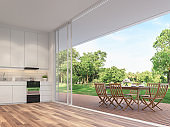 Outdoor dining table on the balcony 3d render