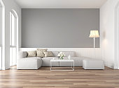 Minimal style vintage living room with empty gray wall 3d render