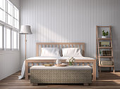 A vintage style bedroom with blank plank walls 3D render
