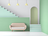 Pastel green color living room 3d render