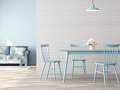 Vintage dining and living room interior with white and blue concept 3d render