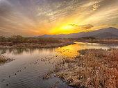 Sunset of Nakdonggang River, Yangsan, South Korea
